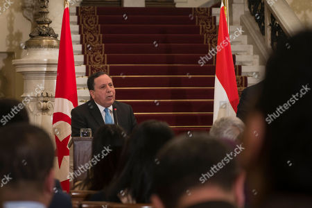 Stock Picture of Tunisian foreign minster Khemaies Jhinaoui speaks during a press conference with his counterparts Egyptian Sameh Shoukry and Algerian Abdelkader Messahel to discuss Libya at Al Tahrir Palace in Cairo, Egypt, in 05 March 2019.