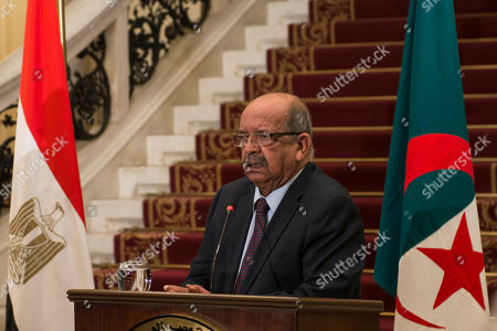 Algerian Abdelkader Messahel speaks during a press conference with his counterparts Egyptian Sameh Shoukry and Tunisian Khemaies Jhinaoui to discuss Libya at Al Tahrir Palace in Cairo, Egypt, in 05 March 2019.