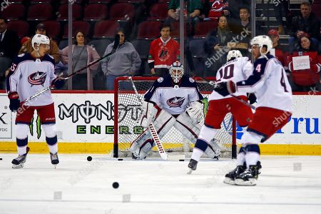 Columbus Blue Jackets goaltender Keith Kinkaid (1) during warm ups prior to an NHL hockey game against the New Jersey Devils, in Newark, N.J