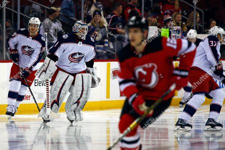 Columbus Blue Jackets goaltender Keith Kinkaid (1) takes the ice during warm ups prior to an NHL hockey game against the New Jersey Devils, in Newark, N.J