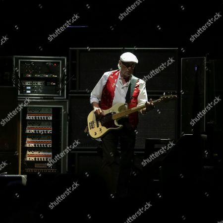 Bassist John McVie performs on stage with Fleetwood Mac at the Capital One Arena, in Washington