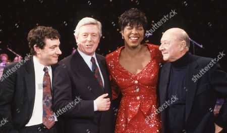 Stock Photo of John Sessions, Michael Aspel, Natalie Cole, and Donald Pleasence.