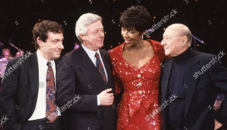 Stock Picture of John Sessions, Michael Aspel, Natalie Cole, and Donald Pleasence.