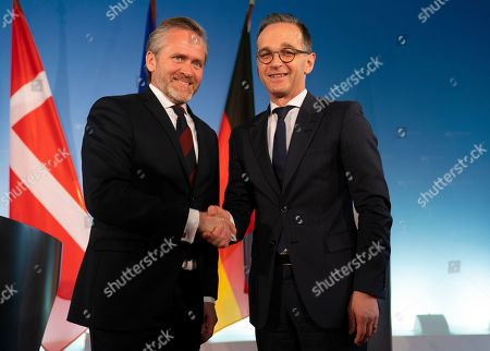 Danish Foreign Minister Anders Samuelsen (L) and German Foreign Minister Heiko Maas (R) shake hands after a joint press statement in Berlin, Germany, 06 March 2019.