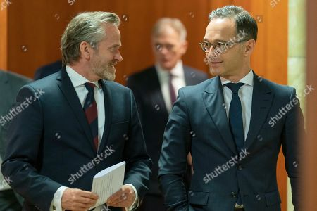 Danish Foreign Minister Anders Samuelsen (L) and German Foreign Minister Heiko Maas (R) arrive to a joint press statement in Berlin, Germany, 06 March 2019.