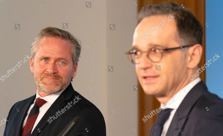 Danish Foreign Minister Anders Samuelsen (L) looks on as German Foreign Minister Heiko Maas (R) speaks during a joint press statement in Berlin, Germany, 06 March 2019.