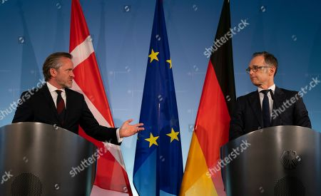 Danish Foreign Minister Anders Samuelsen (L) speaks as German Foreign Minister Heiko Maas (R) looks on during a joint press statement in Berlin, Germany, 06 March 2019.