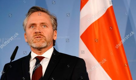 Danish Foreign Minister Anders Samuelsen speaks during a joint press statement with the German foreign minister (not pictured) in Berlin, Germany, 06 March 2019.