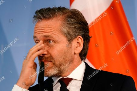 Danish Foreign Minister Anders Samuelsen gestures during a joint press statement with the German foreign minister (not pictured) in Berlin, Germany, 06 March 2019.