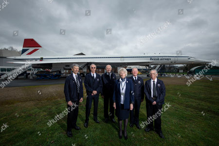 The Golden Jubilee of the maiden flight of Concorde, from Toulouse, on the 2nd March 1969.  Former Concorde pilots gather around 'Delta Golf'  (the first Concorde to carry 100 passengers at Mach 2.) at Brooklands, Weybridge. Ian Smith, pilot, Tony Heald, pilot, Brian Oliver, pilot Carol Cornwell, Cabin Crew, Ian Smith, Flight Engineer and Viv Gunton, pilot