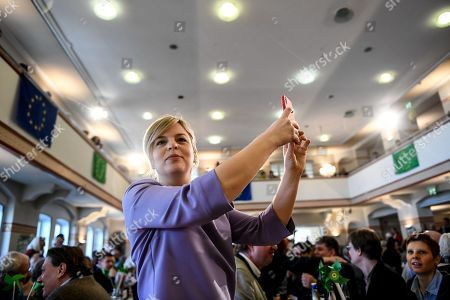 Bavarian Alliance '90/The Greens party fraction leader Katharina Schulze takes a selfie during the Political Ash Wednesday gathering of the Greens Party in Landshut, Germany, 06 March 2019. All major German political parties traditionally hold rallies on Ash Wednesday where rhethoric is usually heated and closely watched by the media.