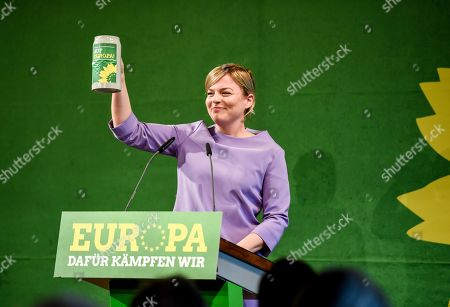 Bavarian Alliance 90/The Greens party fraction leader Katharina Schulze gives a salute at the Political Ash Wednesday gathering of the Greens Party in Landshut, Germany, 06 March 2019. All major German political parties traditionally hold rallies on Ash Wednesday where rhethoric is usually heated and closely watched by the media.