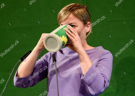 Bavarian Alliance 90/The Greens party fraction leader Katharina Schulze drinks beer at the Political Ash Wednesday gathering of the Greens Party in Landshut, Germany, 06 March 2019. All major German political parties traditionally hold rallies on Ash Wednesday where rhethoric is usually heated and closely watched by the media.