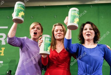 Stock Photo of (L-R) Bavarian Alliance 90/The Greens party fraction leader Katharina Schulze, Bavarian top candidate for the European elections Henrike Hahn and Greens party co-leader Annalena Baerbock attend the Political Ash Wednesday gathering of the Greens Party in Landshut, Germany, 06 March 2019. All major German political parties traditionally hold rallies on Ash Wednesday where rhethoric is usually heated and closely watched by the media.