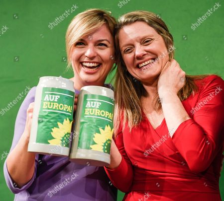Bavarian Alliance 90/The Greens party fraction leader Katharina Schulze (L), and Bavarian top candidate for the European elections Henrike Hahn (R) hold beer mugs during the Political Ash Wednesday gathering of the Greens Party in Landshut, Germany, 06 March 2019. All major German political parties traditionally hold rallies on Ash Wednesday where rhethoric is usually heated and closely watched by the media.