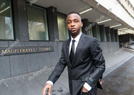 Stoke City footballer, Saido Berahino arrives at Highbury Corner Magistrates court. The Stoke City and Burundi striker, Saido Berahino has been charged with drink-driving.