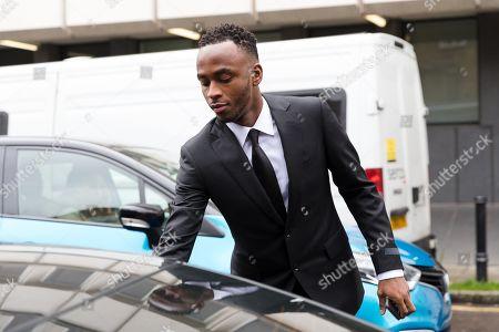 Stoke City footballer, Saido Berahino leaves Highbury Corner Magistrates court.