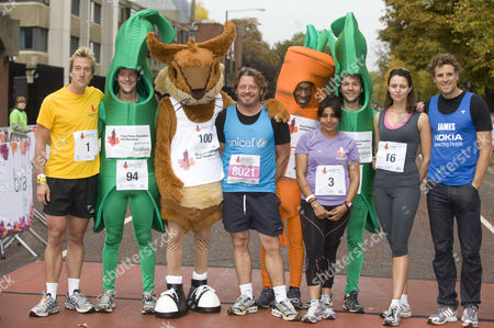 Ben Fogle, Charley Boorman, Rani Price, Beverley Turner and James Cracknell with fancy dress runners
