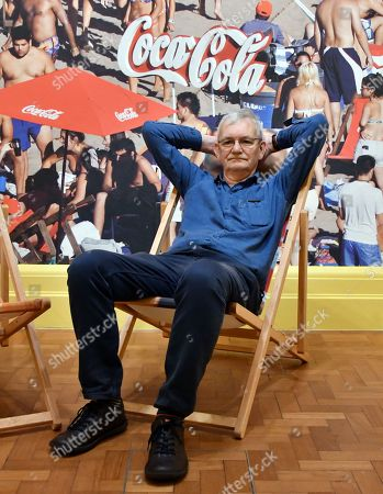 Martin Parr in front of Grande Beach, Mar Del Plata, Argentines, 2014, at National Portrait Gallery