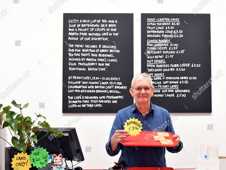 Martin Parr in pop up cafe inspired by Parr's iconic food photography, at National Portrait Gallery