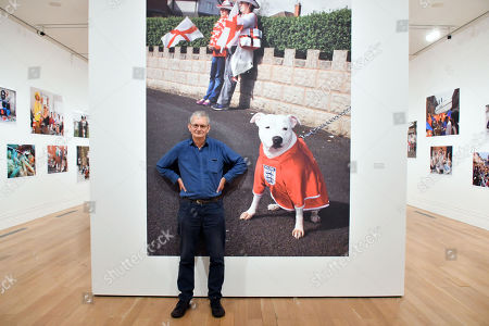 Martin Parr in front of Stone Cross Parade, St George's Day, West Bromwich, the Black Country, England, 2017, at National Portrait Gallery