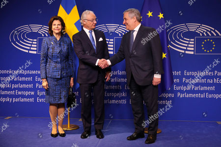 King Carl Gustav, Antonio Tajani, Queen Silvia. Sweden's King Carl Gustav, center, shakes hands with European Parliament President Antonio Tajani, right, next to Sweden's Queen Silvia upon their arrival at the European Parliament, in Brussels