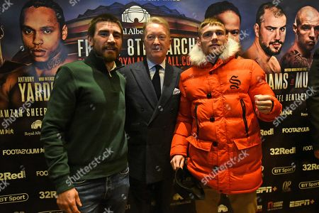 Johnny Garton (L), Frank Warren and Chris Jenkins during a Press Conference at The Gore Hotel on 6th March 2019