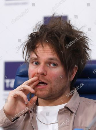 Rou Reynolds of the British rock band Enter Shikari attends a news conference in Moscow, Russia, 06 March 2019. Enter Shikari was founded in 2003, the musicians invented their own style called 'trancecore', combining hardcore and trance, post-hardcore and metalcore with electronic samples. The tour in Russia will be held in 8 cities from Moscow to Siberia.