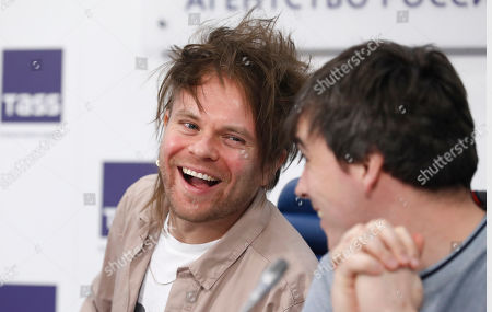 Rou Reynolds (L) and Chris Batten (R) of the British rock band Enter Shikari attend a news conference in Moscow, Russia, 06 March 2019. Enter Shikari was founded in 2003, the musicians invented their own style called 'trancecore', combining hardcore and trance, post-hardcore and metalcore with electronic samples. The tour in Russia will be held in 8 cities from Moscow to Siberia.