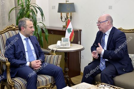 Lebanese Foreign Minister Gibran Bassil (L) meets with British Minister of State for the Middle East and North Africa Alistair Burt (R) at the Foreign Ministry in Beirut, Lebanon, 06 March 2019. Burt is on a two-day official visit to meet with Lebanese officials. He is the first British diplomat to visit Lebanon after Britain declared that Hezbollah is a terrorist organization.