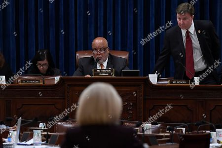 Kirstjen Nielsen, Bennie Thompson, Mike Rogers. House Homeland Security Committee chairman Rep. Bennie Thompson, D-Miss., top center, and ranking member Rep. Mike Rogers, R-Ala, left, listen as Homeland Security Secretary Kirstjen Nielsen, bottom center, testifies on Capitol Hill in Washington