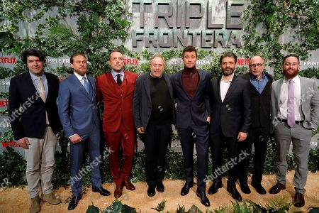 Stock Image of J.C. Chandor and actors Charlie Hunnam, Ben Affleck, film producer Charles Roven, Garrett Hedlund, Oscar Isaac and others pose for the photographers during the premiere of the film 'Triple Frontier' at Callao cinema in Madrid, Spain, 06 March 2019.