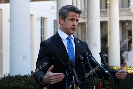 Rep. Adam Kinzinger, R-Ill., speaks to the media, at the White House in Washington