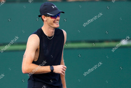 Stock Picture of Jamie Murray of Great Britain laughs during practice