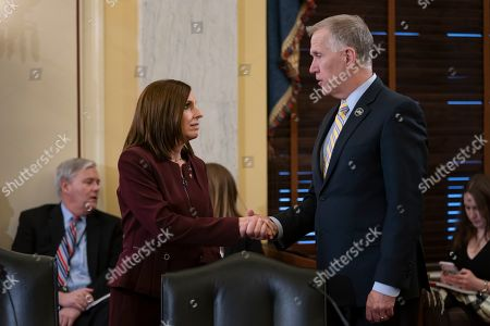 Martha McSally, Thom Tillis. Sen. Martha McSally, R-Ariz., left, is greeted by Sen. Thom Tillis, R-N.C., chairman of the Senate Armed Services Subcommittee on Personnel, as she prepares to testify about her experience with sexual assault while serving as a colonel in the Air Force, on Capitol Hill in Washington, . McSally, the first female fighter pilot to fly in combat, says she was raped in the Air Force by superior officer