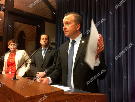 Stock Photo of I have others if these don't work. BC-IL-Illinois-School Construction Grants, moving Saturday, March 6: SPRINGFIELD, Ill. _ Sen. Andy Manar, D-Bunker Hill, chairman of a Senate appropriations committee, speaks to reporters in the state Capitol in this photo. The chairman of a Senate appropriations committee says that a multibillion-dollar statewide construction program proposed by Democratic Gov. J.B. Pritzker should include funding for the state's 20-year-old school construction program, which provides a financial match to local school districts adding space for growing enrollments or replacing obsolete facilities. The program hasn't been funded for a decade and there is a 15-year waiting list of 285 projects seeking state-subsidy approval. John O'Connor/Associated Press [cid:image001.jpg@01D4D43F.6E19F4D0] John O'Connor The Associated Press Statehouse Pressroom Springfield, Illinois O: (217) 789-2700 C