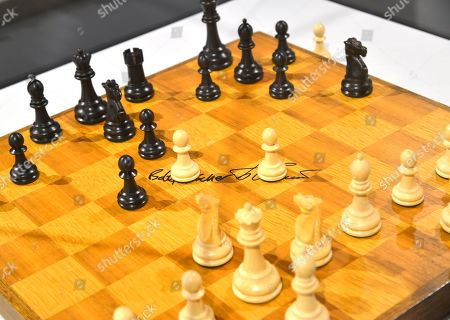 Stock Image of IMAGE DISTRIBUTED FOR WORLD CHESS HALL OF FAME - The chess set that Bobby Fischer and Boris Spassky -with their autographs visible at center - used in the 1972 World Chess Championship match is on display at the World Chess Hall of Fame in St. Louis, where a new chess history exhibition, US Chess: 80 Years?Promoting the Royal Game in America, opened with a reception on . The chess exhibit will be on display through October 27, 2019