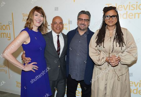 "Frank Scherma, Lois Vossen, Ricky Minor, Ava DuVernay. Television Academy's Documentary Programming Governor Lois Vossen, from left, Television Academy's Music Governor Ricky Minor, Frank Scherma, Chairman and CEO of the Television Academy and Ava DuVernay attend the Television Academy member event ""Perfect Harmony: A Live Performance Celebrating the Impact of Music in Documentaries"" at the Saban Media Center's Wolf Theatre at the Television Academy on in North Hollywood, Calif"