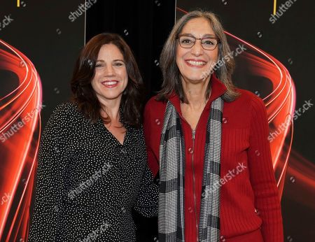"""Miriam Cutler, Lisa Dapolito. Lisa Dapolito, left, and Miriam Cutler attend the Television Academy member event """"Perfect Harmony: A Live Performance Celebrating the Impact of Music in Documentaries"""" at the Saban Media Center's Wolf Theatre on in North Hollywood, Calif"""