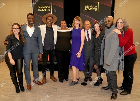 "Dyana Winkler, Hans Charles, Osei Essed, Jacqueline Olive, Lois Vossen, Ricky Minor, Lisa Dapolito, Jongnic Bontemps, Miriam Cutler. Dyana Winkler, from left, Hans Charles, Osei Essed, Jacqueline Olive, Television Academy's Documentary Programming Governor Lois Vossen, Television Academy's Music Governor Ricky Minor, Lisa Dapolito, Jongnic Bontemps and Miriam Cutler attend the Television Academy member event ""Perfect Harmony: A Live Performance Celebrating the Impact of Music in Documentaries"" at the Saban Media Center's Wolf Theatre on in North Hollywood, Calif"