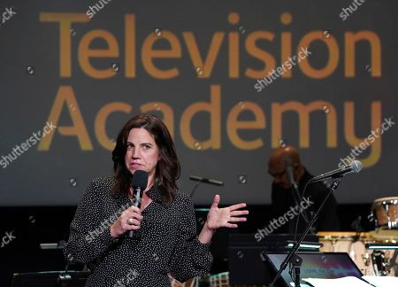 """Lisa Dapolito speaks at the Television Academy member event """"Perfect Harmony: A Live Performance Celebrating the Impact of Music in Documentaries"""" at the Saban Media Center's Wolf Theatre at the Television Academy on in North Hollywood, Calif"""