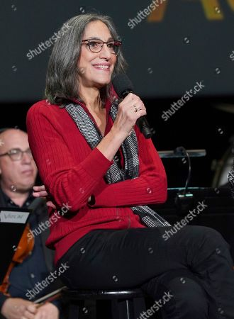 """Miriam Cutler speaks at the Television Academy member event """"Perfect Harmony: A Live Performance Celebrating the Impact of Music in Documentaries"""" at the Saban Media Center's Wolf Theatre at the Television Academy on in North Hollywood, Calif"""