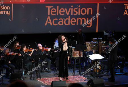 """Acclaimed singer/songwriter Judith Hill performs vocals with the score for Nat Geo's """"Hostile Planet"""" at the Television Academy member event """"Perfect Harmony: A Live Performance Celebrating the Impact of Music in Documentaries"""" at the Saban Media Center's Wolf Theatre on in North Hollywood, Calif"""