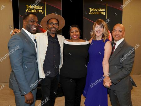 "Hans Charles, Osei Essed, Jacqueline Olive, Lois Vossen, Ricky Minor. Hans Charles, from left, Osei Essed, Jacqueline Olive, Television Academy's Documentary Programming Governor Lois Vossen and Television Academy's Music Governor Ricky Minor attend the Television Academy member event ""Perfect Harmony: A Live Performance Celebrating the Impact of Music in Documentaries"" at the Saban Media Center's Wolf Theatre on in North Hollywood, Calif"