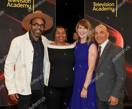 "Osei Essed, Jacqueline Olive, Lois Vossen, Ricky Minor. Osei Essed, from left, Jacqueline Olive, Television Academy's Documentary Programming Governor Lois Vossen and Television Academy's Music Governor Ricky Minor attend the Television Academy member event ""Perfect Harmony: A Live Performance Celebrating the Impact of Music in Documentaries"" at the Saban Media Center's Wolf Theatre on in North Hollywood, Calif"