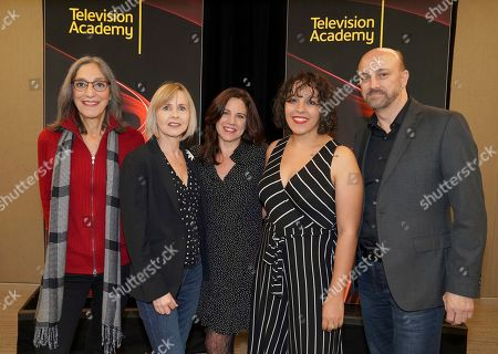 """Miriam Cutler, Bronwyn Berry, Lisa Dapolito, Nina Guzman, James Tumminia. Miriam Cutler, from left, Bronwyn Berry, Lisa Dapolito, Nina Guzman and James Tumminia attend the Television Academy member event """"Perfect Harmony: A Live Performance Celebrating the Impact of Music in Documentaries"""" at the Saban Media Center's Wolf Theatre at the Television Academy on in North Hollywood, Calif"""