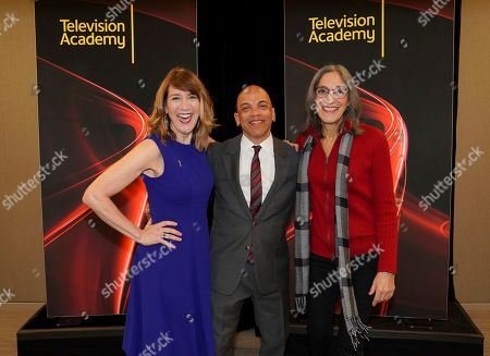 "Lois Vossen, Ricky Minor, Miriam Cutler. Television Academy's Documentary Programming Governor Lois Vossen, from left, Television Academy's Music Governor Ricky Minor and Miriam Cutler attend the Television Academy member event ""Perfect Harmony: A Live Performance Celebrating the Impact of Music in Documentaries"" at the Saban Media Center's Wolf Theatre at the Television Academy on in North Hollywood, Calif"