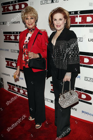 Karen Kramer (L) and Kat Kramer (R) pose for photos as they arrive for the premiere of 'The Kid' at the ArcLight Hollywood in Los Angeles, California, 06 March 2019. The movie 'The Kid' will start screening on 08 March 2019.