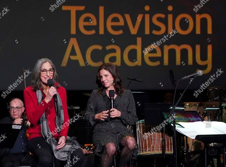 """Miriam Cutler, Lisa Dapolito. Composer Miriam Cutler, left, and director Lisa Dapolito discuss their music choices for """"Love, Gilda"""" at the Television Academy member event """"Perfect Harmony: A Live Performance Celebrating the Impact of Music in Documentaries"""" at the Saban Media Center's Wolf Theatre on in North Hollywood, Calif"""