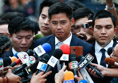 Thai Raksa Chart Party leader Preechapol Pongpanich (C) speaks to the media after the Constitutional Court ordered the dissolution of the party for nominating a Thai princess as a prime minister candidate, at the Constitutional Court in Bangkok, Thailand, 07 March 2019. Thai Constitutional Court ordered the dissolution of Thai Raksa Chart Party for nominating Princess Ubolratana as its prime minister candidate for the general election. The court also decided to impose a political ban on 14 party executives for 10 years.